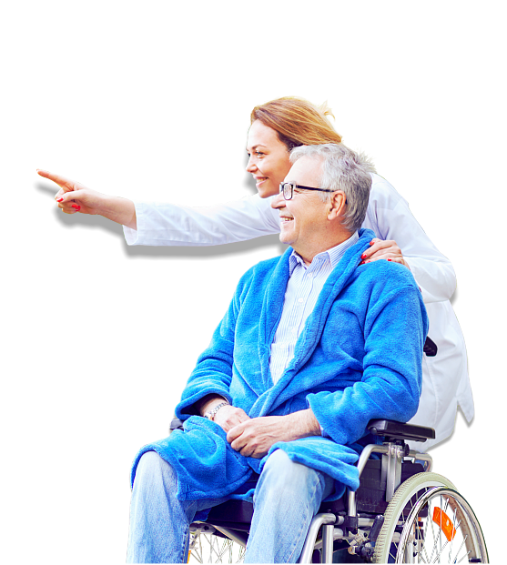 caregiver and senior man on the wheelchair is smiling