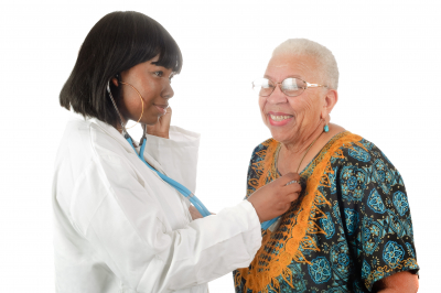 nurse checking the heartbeat pressure of senior woman